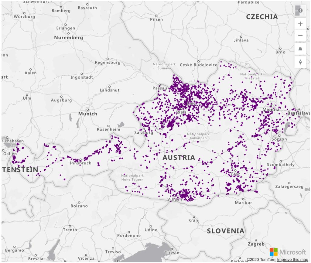 Austria Geolocations Addresses for Power BI Tableau QlikView Qlik Sense